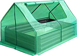 Quictent 49''x37''x36'' Extra-Thick Galvanized Steel Raised Garden Bed Planter Kit Box with Greenhouse Large Zipper Doors, 20pcs T-Types Tags & 1 Pair of Gloves Included