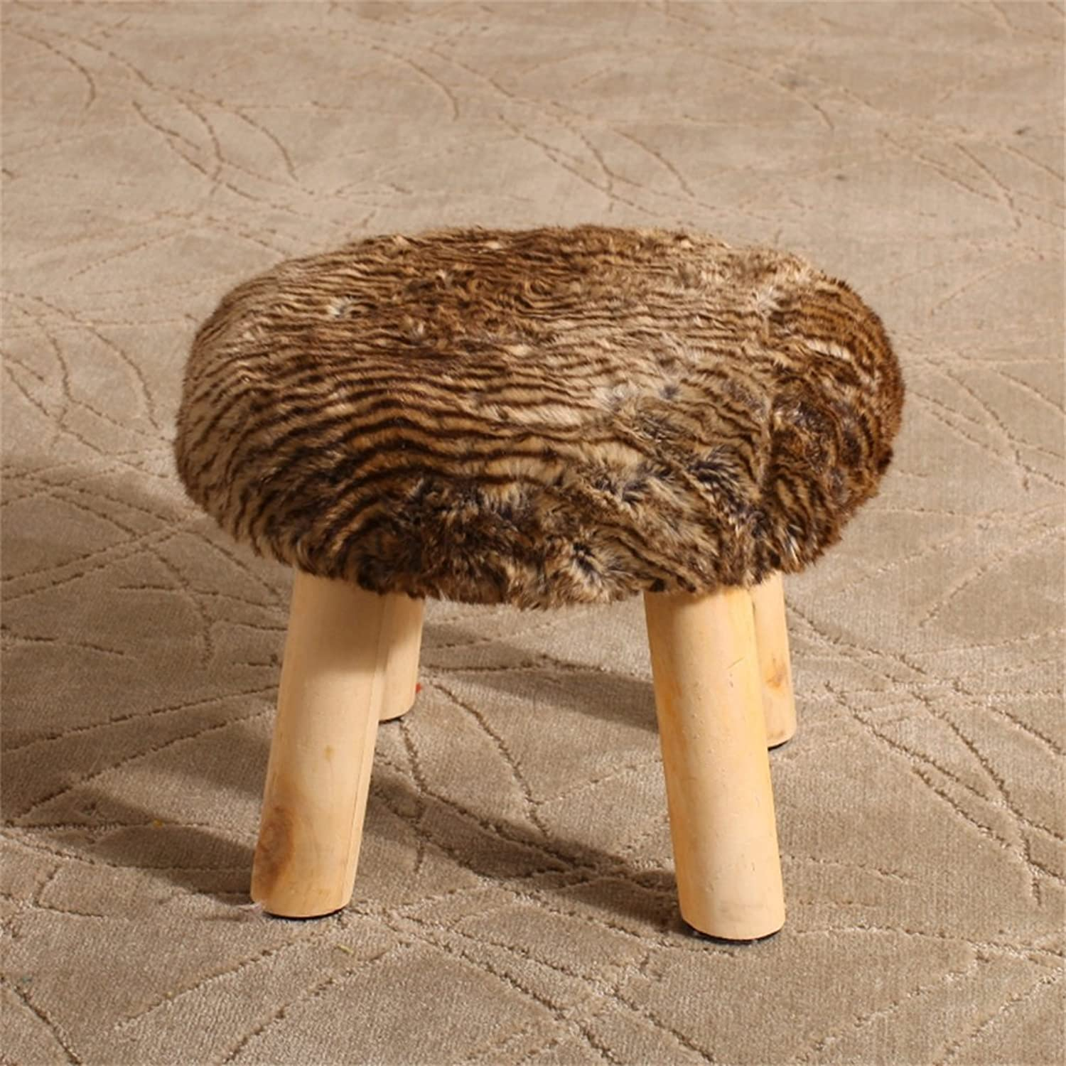 Solid Wood Change shoes Stool Round Upholstered Footstools 4 Wood Leg Pouffes Stool Fabric Cover Removable (color   B)
