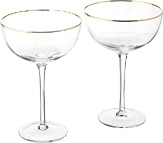 Cathy's Concepts LOV-1240G 8 oz. Gold Love Rim Coupe Flute, Clear