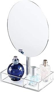 comprar comparacion InterDesign Luci espejo redondo joyero| Con 2 compartimentos para maquillaje, bisutería, etc. | Espejo joyero de pie en pl...