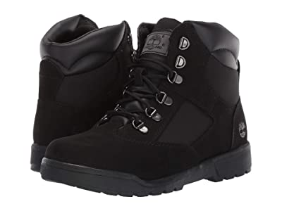 Timberland Kids Field Boot 6 Leather Fabric (Youth 2) (Black Nubuck) Boys Shoes