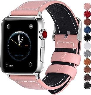 Fullmosa LC-Jan Cuero Correa, 7 Colores Correa Compatible Apple Watch/iWatch Series 3, Series 2, Series 1, 38mm, 42mm, Rosa 42mm