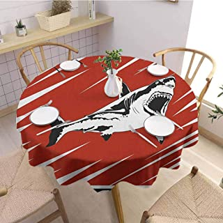 Luoiaax Shark 3D Printed Round Tablecloth Killer Sea Creature Swimming in The Ocean in Grunge Stylized Graphic Desktop Protection pad D47 Inch Round Black White Burnt Sienna