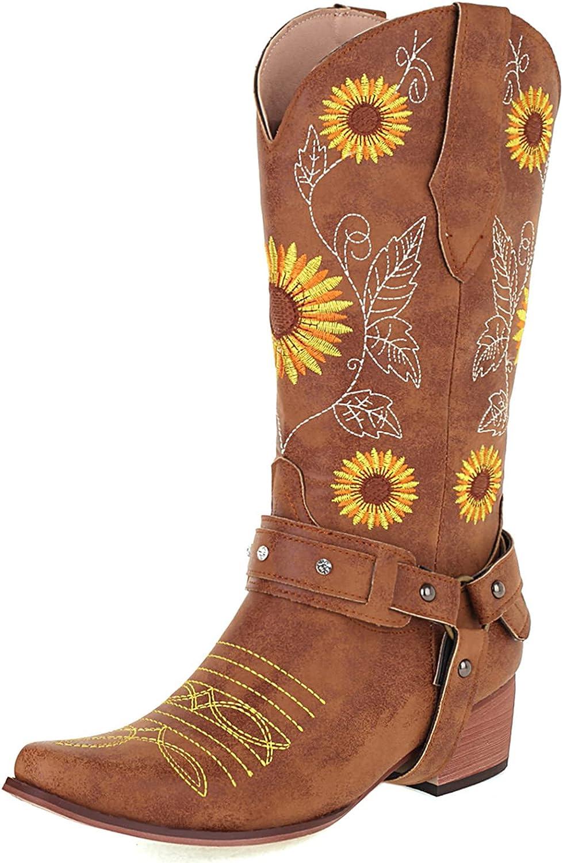 Max 66% OFF SaraIris Women's Western Boot Cowgirl High Chunky Max 42% OFF Bo Heel Cowboy