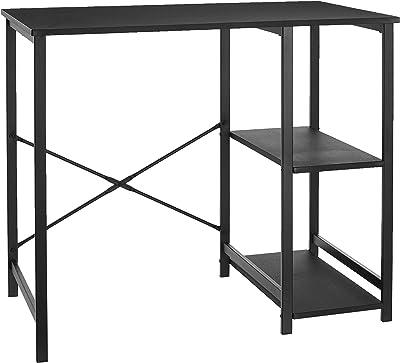 AmazonBasics Classic, Home Office Computer Desk With Shelves, Black