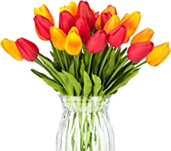 Meiliy 30pcs Orange+Red Tulips Artificial Flowers Real-Touch Tulips for Home Decorations Room Centerpieces Arrangement Wedding Bouquets Corsages