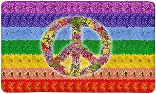 INTERESTPRINT Peace Floral Symbol on Rainbow Islamic Flag Indoor Doormat Latex Backing Non Slip Door Mat Entrance Rug 30