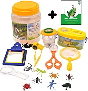 1ELEGANT Adventure Nature Kids - Bug Catcher, Habitat Bucket, Tongs, Magnifier, eBook & More. Educational Toys Kit, Great Set for 3, 4, 5, 6+ Year Old Boys & Girls | Birthday Gifts for Children