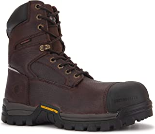 ROCKROOSTER Men's Work Boots, 6 and 8 Composite Toe, Non-Slip Rubber Safety Shoes, Hydroguard Waterproof Leather Boot, Kevlar Puncture Resistant, EH AT872