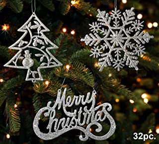BANBERRY DESIGNS Christmas Ornaments - Set of 32 Silver Glitter Ornaments - Silver Trees, Silver Snowflakes and Silver Merry Christmas Signs - Christmas Decorations