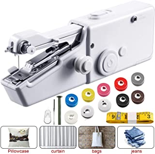 Handheld Sewing Machine Portable Cordless Stitching Machine Machine Mini Stitch Craft Machine with Tape Measure, Line Roll DIY for Fabric, Clothing, Kids Cloth, Home Travel Use (Battery Not Included)