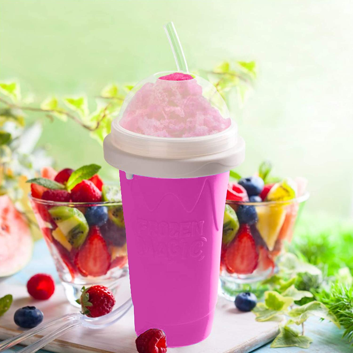 Magic Slushy Maker Squeeze Cup Slushy Maker DIY Homemade Smoothie Cups Freeze Drinks Cup Double Layer Summer Juice Ice Cream Cup Blue
