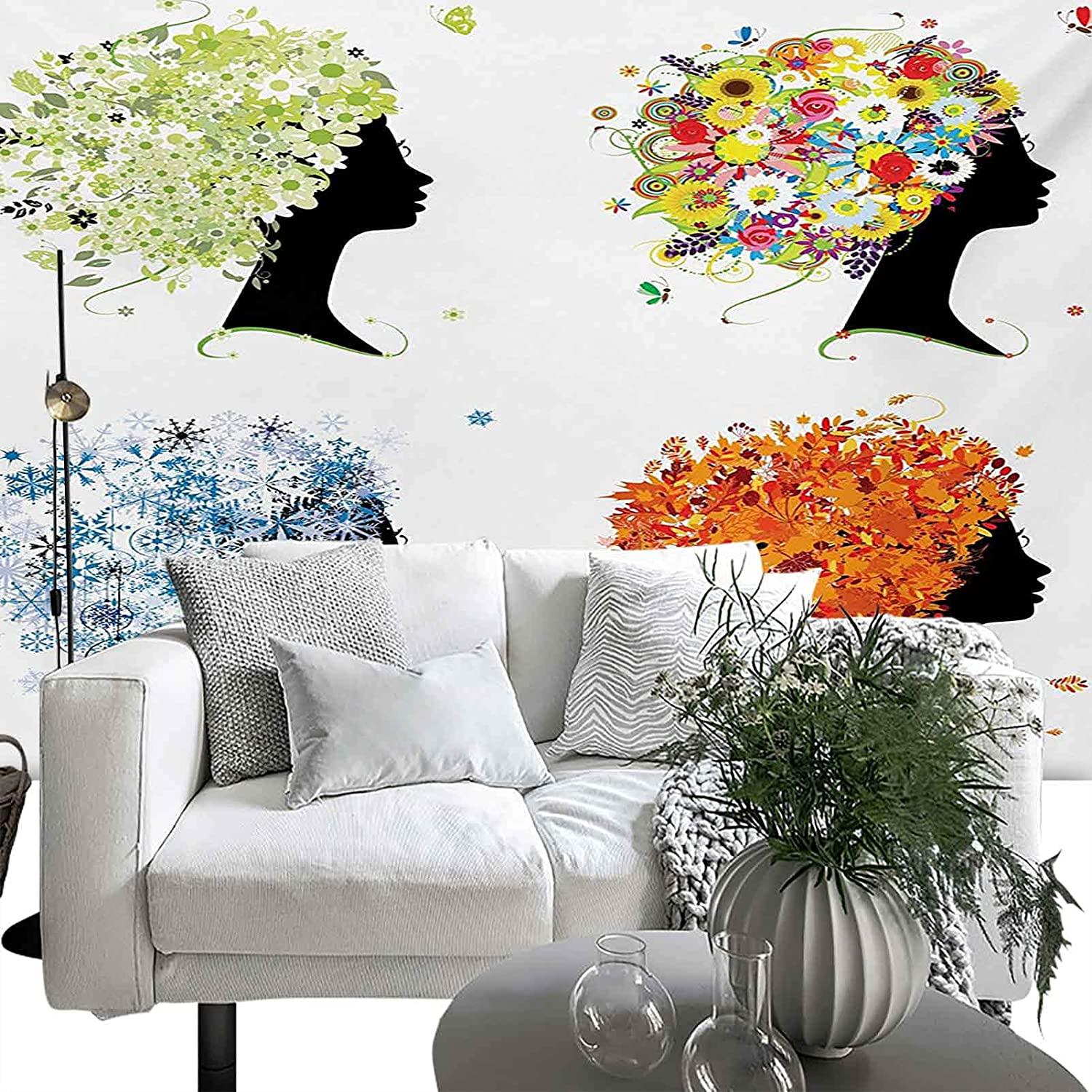 Wall Fixed price for sale Mural Colorful Four Season Woman New color Design Toned Warm Hair Lea