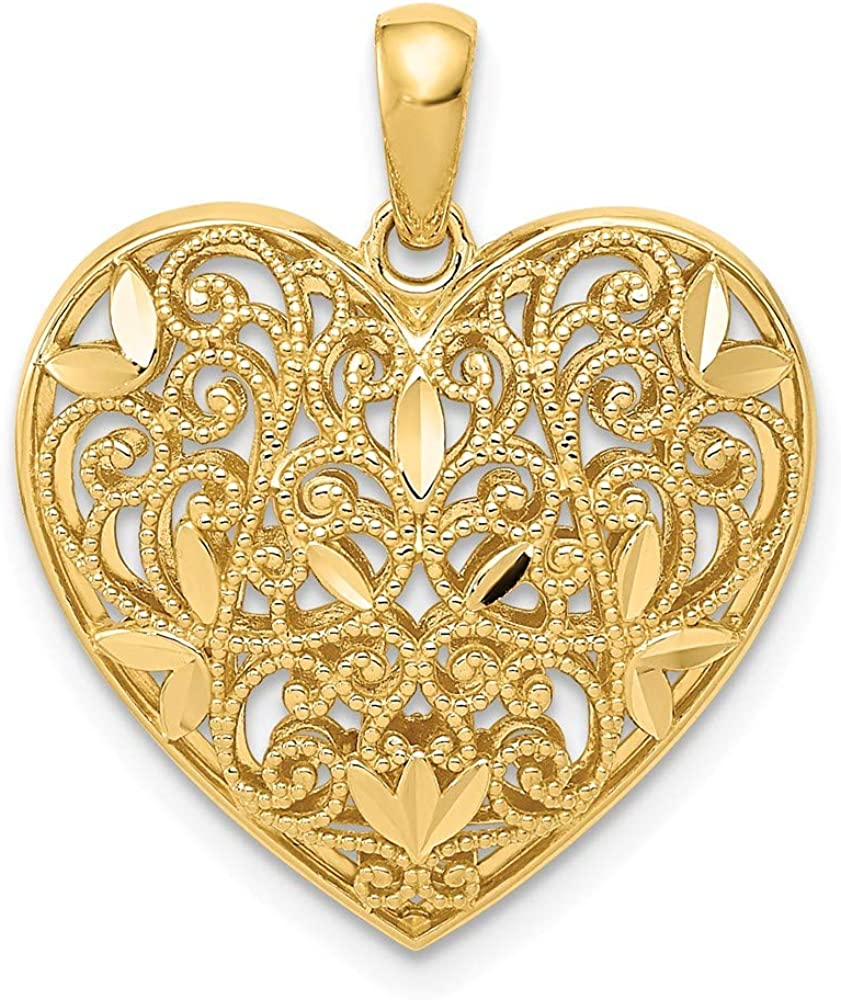 14k Yellow Gold Patterned Heart Pendant Charm Necklace Love Fine Jewelry For Women Gifts For Her