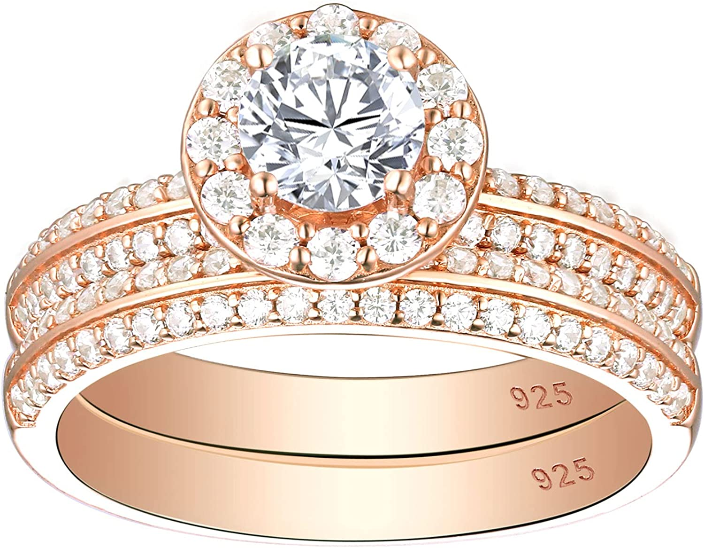 SHELOVES 18K Rose Gold Floral Mail order Wedding Set for Women Halo R Rings Attention brand