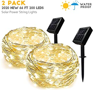 Homemory Solar String Lights, 66 ft 200 LEDs Outdoor Fairy Lights Copper Wire Lights, Waterproof Solar Christmas Lights, Indoor Twinkle Lights for Patio, Yard, Wedding Decor(2 Pack,Warm White)