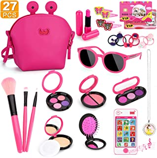 Kids Makeup Kit - Girl Pretend Play Makeup My First Purse Toy for Toddler Gifts Including Pink Princess Purse, Smartphone, Sunglasses, Credit Card, Lipstick, Brush, Lights Up & Make Real Life Sounds