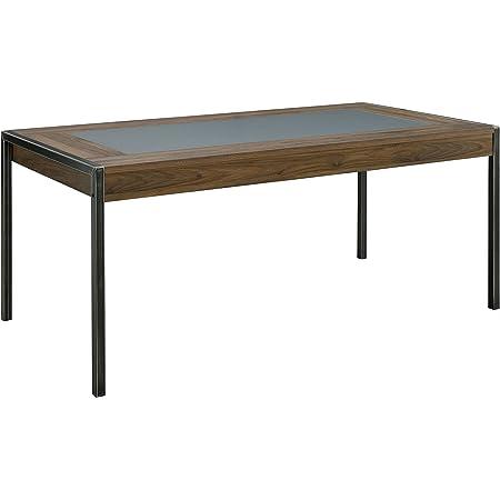Indus Chic Table de Repas Rectangulaire Design Industriel Métal Gris et Bois Noyer 180 x 90 x 75,3 cm