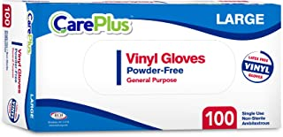 [100 Count] Care Plus Disposable Plastic Vinyl Clear Large Gloves, Allergy, Latex And Powder Free, Great For Home Kitchen Or Office Cleaning, Cooking, 1 Box
