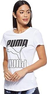 Puma Women's Rebel Graphic T-shirt, Black (White/Black), Large
