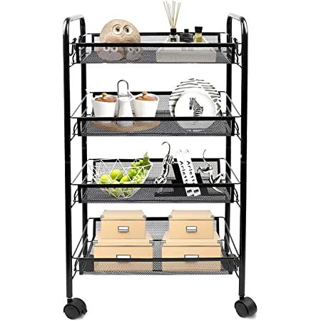 Todeco-- Carrito de almacenamiento de 4 niveles, carrito con cestas y ganchos, 4 ruedas de rotación de 360°, apto para cocina, baño, hogar, oficina, color negro