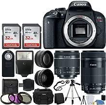 Canon EOS Rebel T7i Digital SLR Camera + EF-S 18-55mm is STM Lens + EF-S 55-250mm is STM Lens + Wide Angle Lens & 2X Telephoto Lens + 64GB Memory Card + Quality Tripod - Complete Accessory Bundle