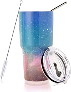 30 oz. Tumbler Double Wall Stainless Steel Vacuum Insulation Travel Mug with Crystal Clear Lid and Straw, Water Coffee Cup for Home,Office,School, Ice Drink, Hot Beverage,Starry Night Pink