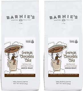 Barnie's German Chocolate Cake Ground Coffee | Decadent, Coconutty Chocolate Cake Flavored Coffee | Sugar Free, Nut Free, Gluten Free, Fat Free | Medium Roasted Arabica Coffee Beans | 2-Pack