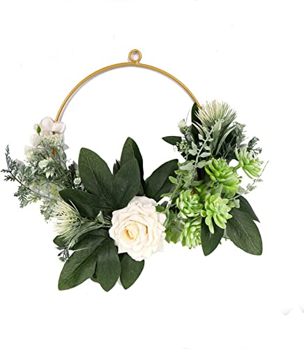 2021 16 outlet sale in Rose Flower Wreath Artificial Flowers Garland Wreath Handmade Home Decor Front Door Hanging Wreath Spring Easter Wreath for Wedding Holiday outlet sale Party online