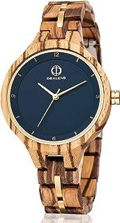 Wooden Watches for Women,Handmade Natural Wood Watch Lightweight Quartz Women Wooden Watch Casual Dress Wrist Watches Perf...