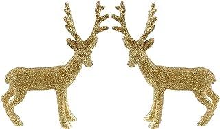 Creative Co-op Shimmering Reindeer Decorative Figurines - Set of 2