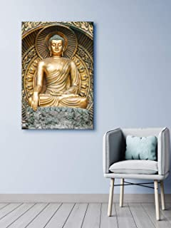 999Store Wooden Stretched Lord Gautam Buddha Budha murals paintings canvas painting buddha photo frames for wall art frame...