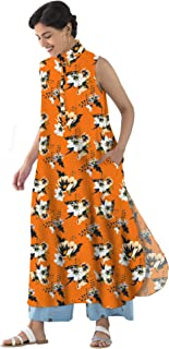 RADANYA Women's Tops Tunic Kurta Floral Print Sleeveless Casual Tunic Long Tops Tunic Dress