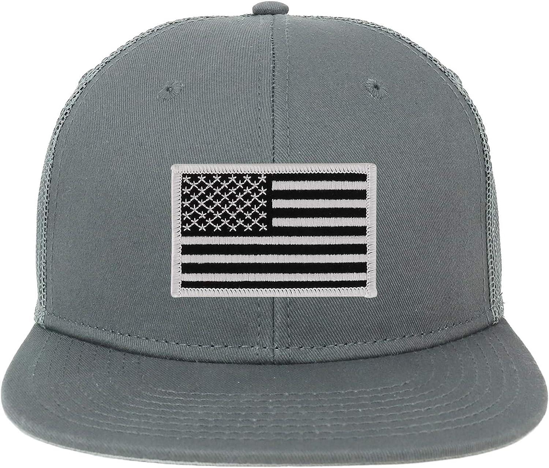 Armycrew Oversize XXL Black White USA Flag Patch Flatbill Mesh Snapback Cap