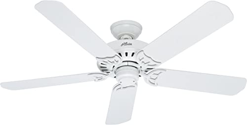 """new arrival Hunter Fan Company 53125 Bridgeport 52 Inch Versatile Indoor/Outdoor Damp-Rated Home Ceiling Fan with Pull Chain Control popular without Light outlet sale Fixture, 52"""", White finish outlet online sale"""
