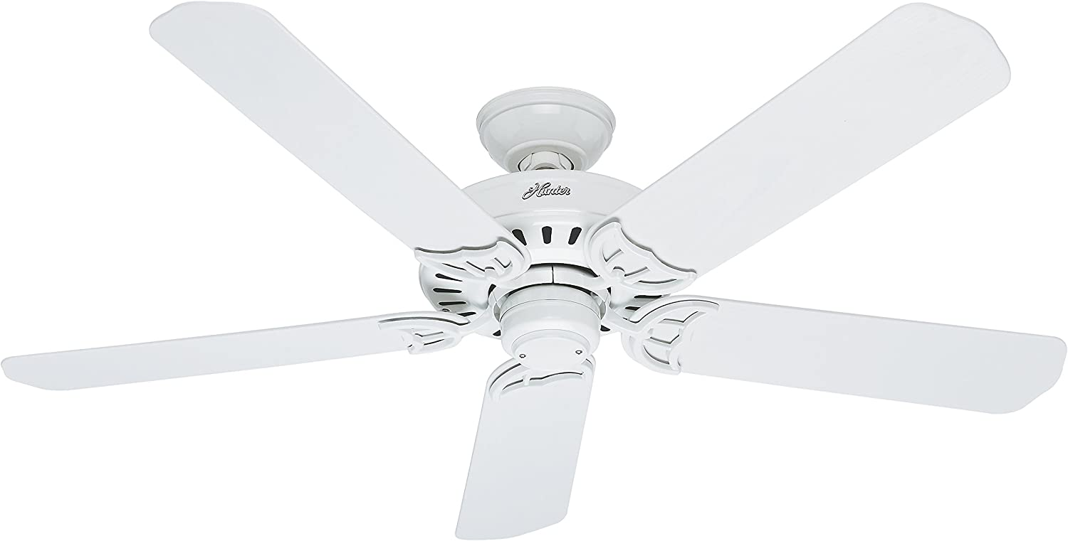 Hunter 53125 Bridgeport 52-Inch ETL Damp Listed Ceiling Fan with Five White Plastic Blades, White