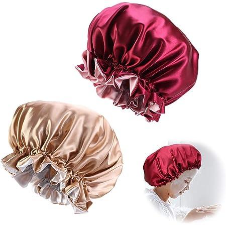 Elastische Kinder Mädchen Satin Motorhaube Kappe Nachtschlaf Haar Kopfbedeckun