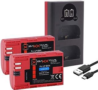 Baxxtar LP-E6N Set - Oplader 18602 (USB Dual LCD) en 2X batterij compatibel met Canon XC10 XC15 EOS R 60D 70D 80D 90D 5D M...