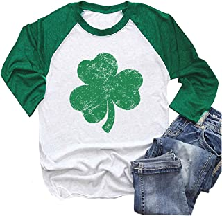Graflying St. Patrick's Day Green Lucky Shamrocks Distressed Print Women's T-Shirt Raglan Long-Sleeved Blouses Tops Tees