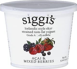 Siggis Icelandic Non Fat Mixed Berries & Acai Yogurt, 5.3 Ounce (Pack of 12)