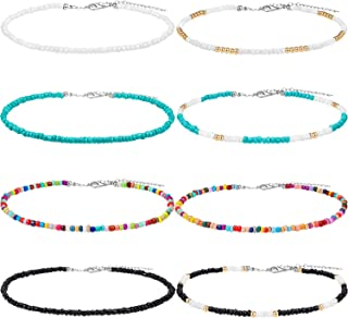 8 Pieces Seed Bead Choker Necklace Tiny Beaded Choker Boho Colorful Rainbow Choker Necklace Chain Jewelry for Women and Girls, Adjustable 12-16 Inches