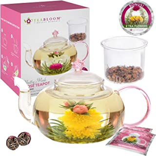 Teabloom Rose Teapot Set - 34 oz Borosilicate Glass Teapot, Glass Tea Infuser, 2 Flowering Teas - Thermal Shock Resistant - Stovetop, Microwave, Dishwasher Safe - Pretty in Pink