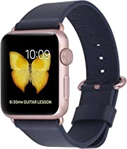 JSGJMY Compatible with Iwatch Band Women Genuine Leather Replacement Strap Compatible with Series 4 3 2 1 Sport Edition(38mm 40mm S/M,Navy+Rose Gold Clasp)