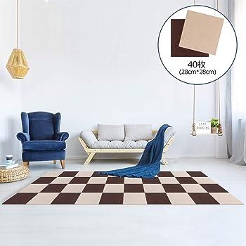 Y-Z ジョイントマット タイルカーペット 吸着 床保護 タイルマット ペット用カーペット ズレない 洗える タイルマット チェアマット 防音 床暖房対応 自由にカット可能 28*28CMブラウン20枚+ベージュ20枚