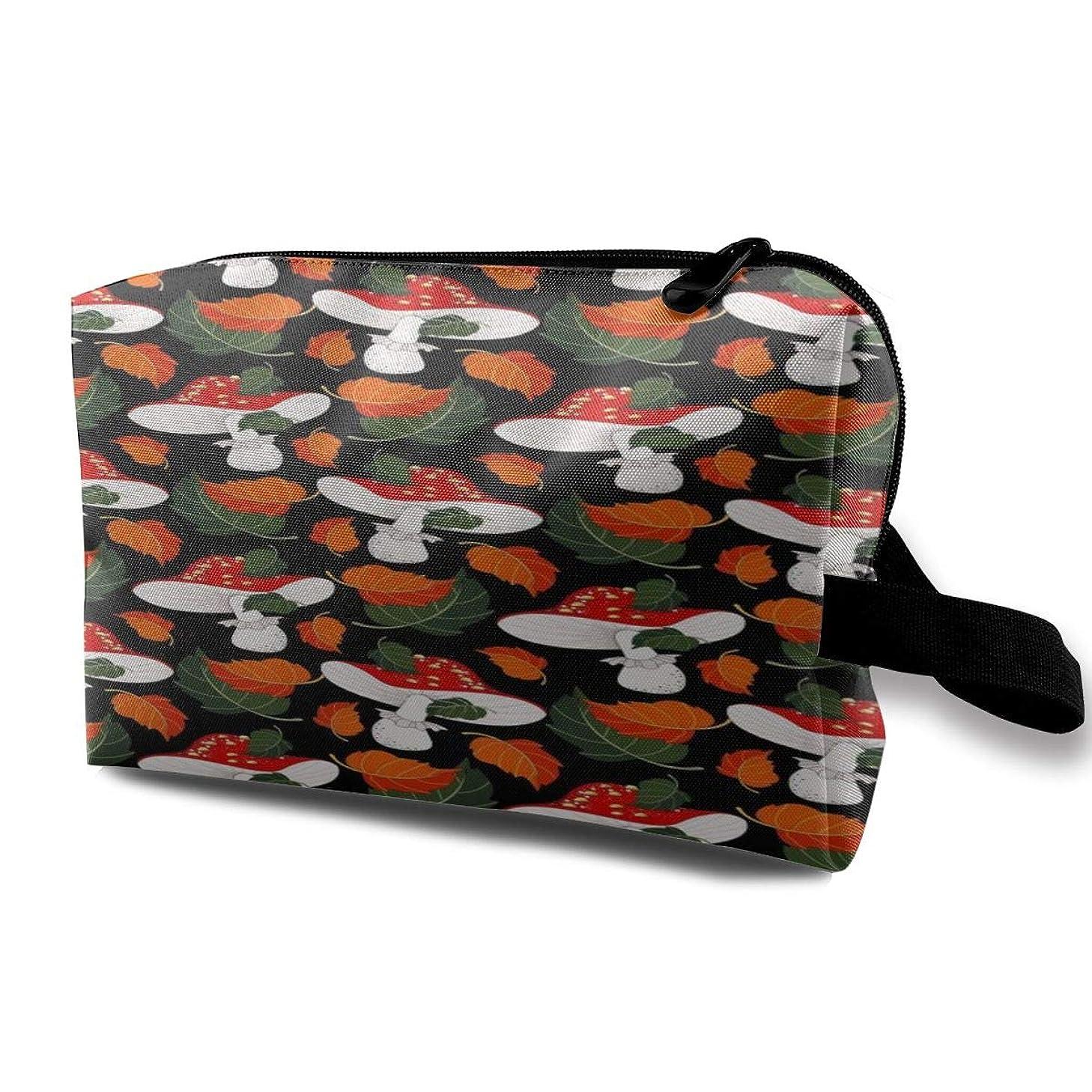 シエスタ船アラートAutumn Leaves Mushrooms 収納ポーチ 化粧ポーチ 大容量 軽量 耐久性 ハンドル付持ち運び便利。入れ 自宅?出張?旅行?アウトドア撮影などに対応。メンズ レディース トラベルグッズ
