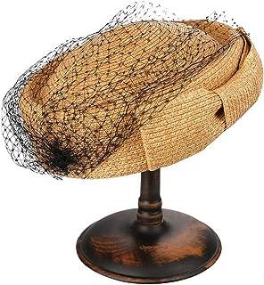 Graceful Women's Fashion Elegant Lace Adjustable Retro Bud Hat Hat (Color : Brown)