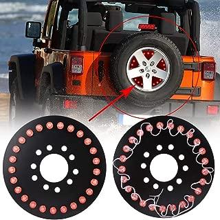 Qiilu Car Spare Tire LED Lamp Rear 3rd Brake Decor Light Red Light Compatible with 2007-2016 Jeep Wrangler JK TJ