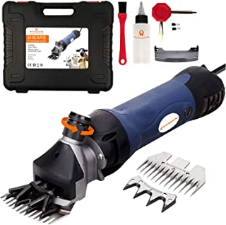 Pet & Livestock Electric Shearing Machine and Hair Fur Grooming Clippers for Sheep Goats Alpaca Llamas Angora Rabbits Hand Piece Cutter Grooming Kit for Livestock 2 Blades CE (380W)