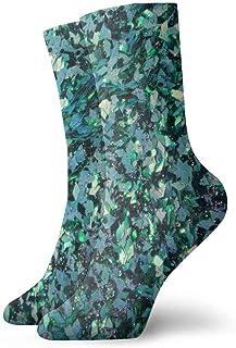 tyui7, Calcetines de compresión antideslizantes de lentejuelas verdes Calcetines deportivos de 30 cm acogedores para hombres, mujeres, niños