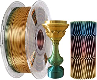Kehuashina Silk Pla Filament for 3D Printer and Pens, Multi Color, Rainbow Like, 1kg Gradually Changing Multicolor Spool -...